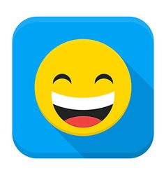 Laugh Yellow Smiley Face Flat App Icon vector