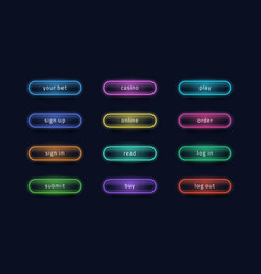 light buttons glowing neon ui elements for online vector image