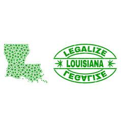 Marijuana leaves collage louisiana state map vector