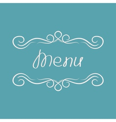 Menu cover design abstract calligraphic frame vector