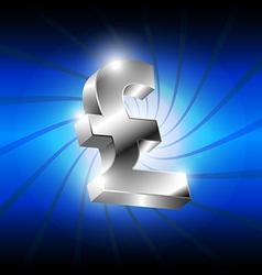 Metallic pound money icon vector
