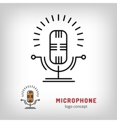 Microphone isolated line art icon Modern vector image