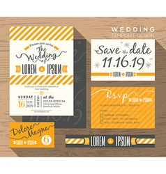 Modern yellow stripe wedding invitation Template vector image vector image