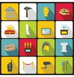 Museum icons set in flat style vector image vector image