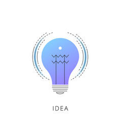 neon idea bulb line icon vector image