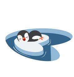 Penguins sleep on a piece iceberg vector