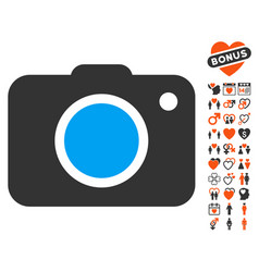 Photo camera icon with love bonus vector