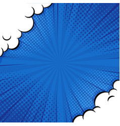 pop art comic background with cloud and shine vector image