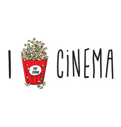pop corn in large red paper box cinema box vector image