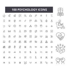 Psychology editable line icons 100 set vector