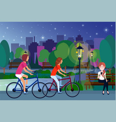 public night park people relax sitting wooden vector image