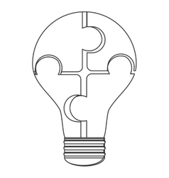 puzzle pieces creating lightbulb icon vector image