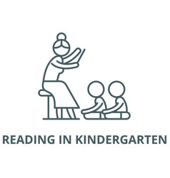 reading in kindergarten line icon linear vector image
