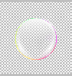 realistic soap bubble with rainbow reflection vector image