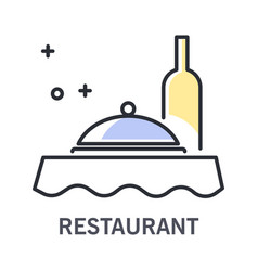 restaurant isolated outline icon wine bottle and vector image