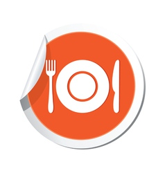 Restaurant sign orange sticker vector