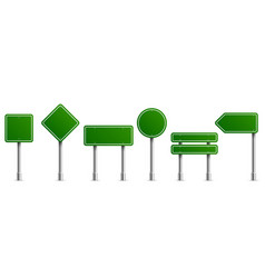 road signs green square round and horizontal vector image