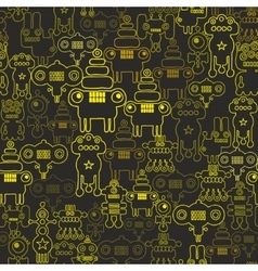 Robot and monsters seamless pattern vector