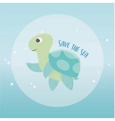 save sea turtle environment ecology cartoon vector image