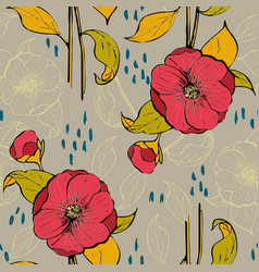 seamless pattern with floral design vector image