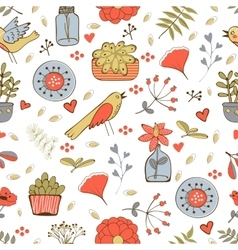 Seamless pattern with plants birds leaves and vector