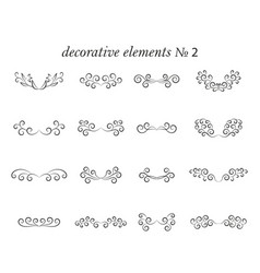 Set decorative elements with flourishes curls vector