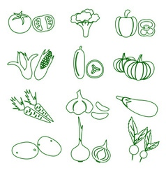 set of black various vegetables outline icons vector image