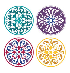 set of round arabic ornaments vector image