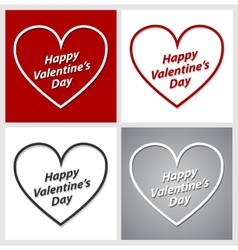Set of Valentines Day hearts over red grey and vector image