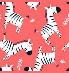 sketch zebra seamless pattern for boys vector image