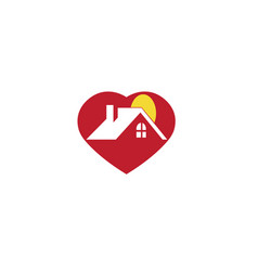 small home and sun inside a big heart for logo vector image