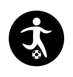 Soccer player silhouette icon vector