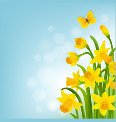 Spring cart with narcissus vector