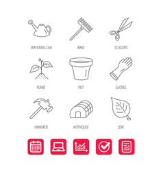 Sprout plant scissors and pot icons vector