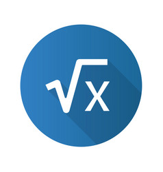 Square root x flat design long shadow glyph vector