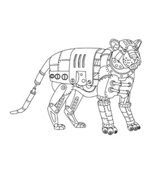 Steampunk style tiger coloring book vector image