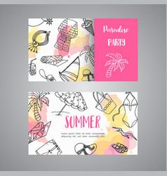 summer hand drawn business card beach doodle vector image