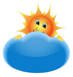Sun behind cloud vector