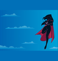 Super mom with baby sky silhouette vector