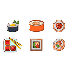 sushi icon set cartoon style vector image