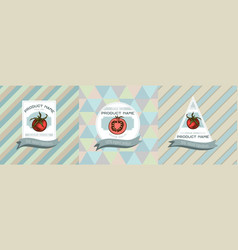 three colored labels with cherry vector image
