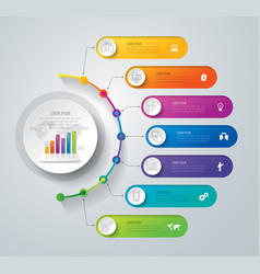 Timeline infographics design with 7 options vector