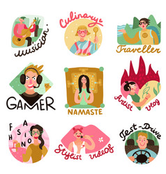 Video bloggers emblems set vector