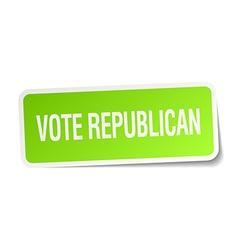 Vote republican green square sticker on white vector