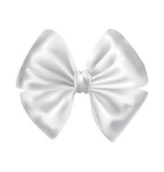 White silky bow ribbon vector