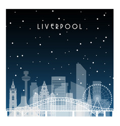 winter night in liverpool night city in flat vector image