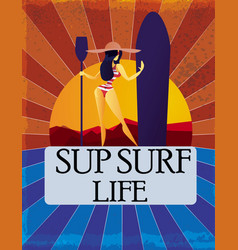 Woman with supsurf board vector