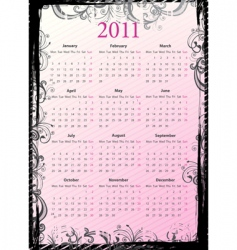 European floral grungy calendar 2011 vector image