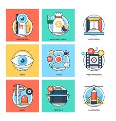 Flat Color Line Design Concepts Icons 24 vector image