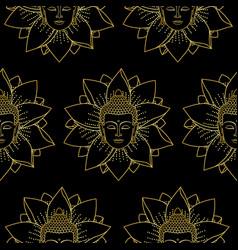 gold buddha and lotus seamless pattern vector image